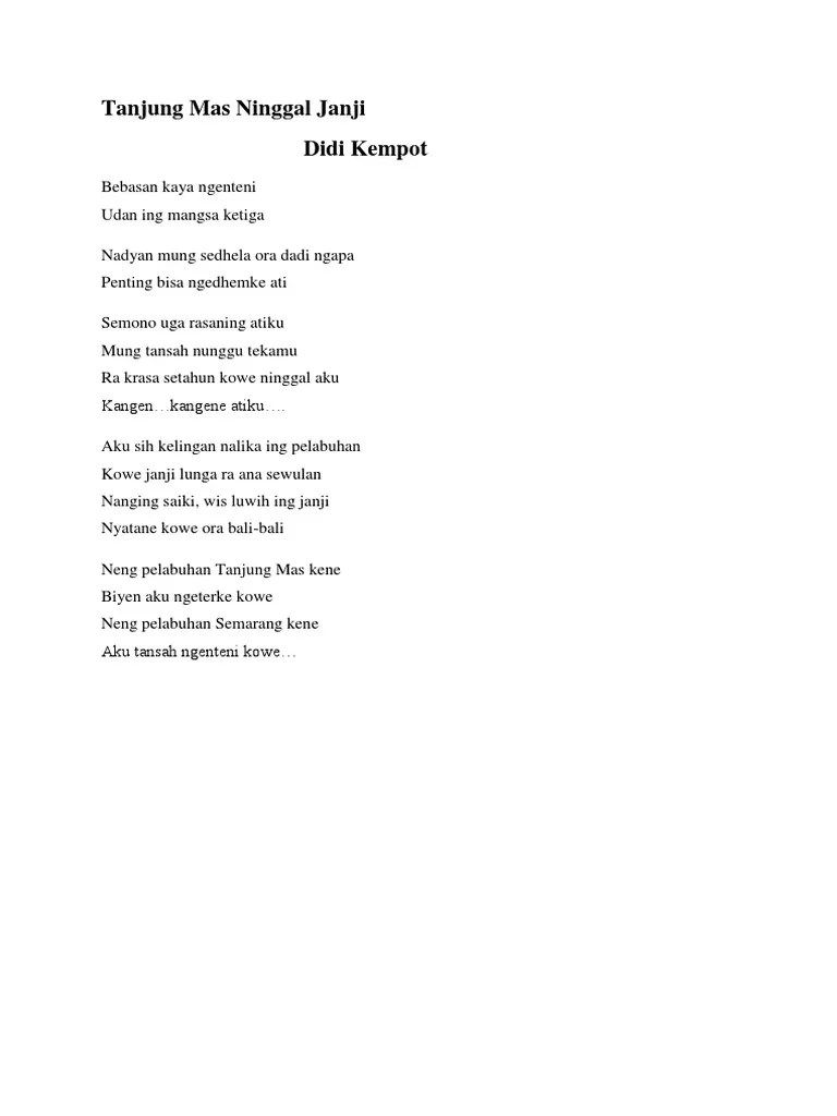 Tanjung Mas Ninggal Janji Lirik : tanjung, ninggal, janji, lirik, Tanjung, Ninggal, Janji, Kempot