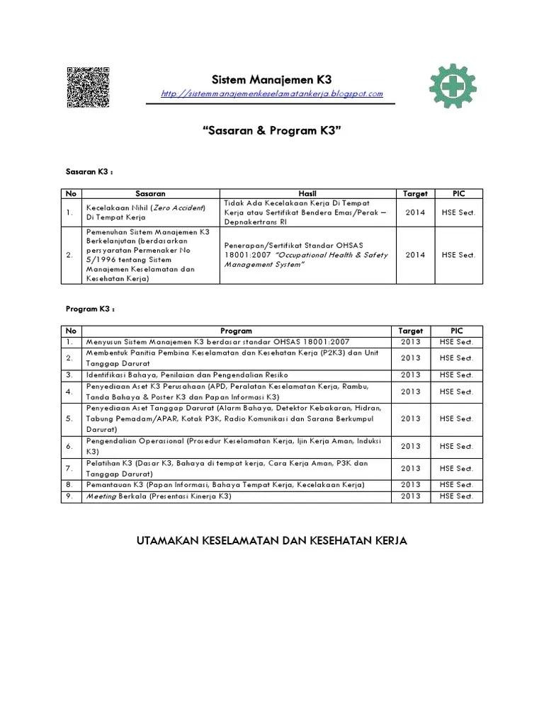 Contoh Program P2k3 : contoh, program, Sasaran, Program