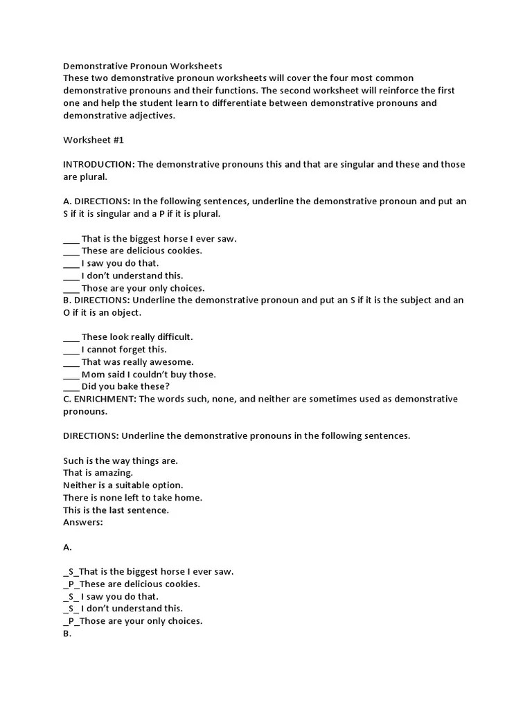 small resolution of Demonstrative Pronoun Worksheets   Pronoun   Grammatical Number