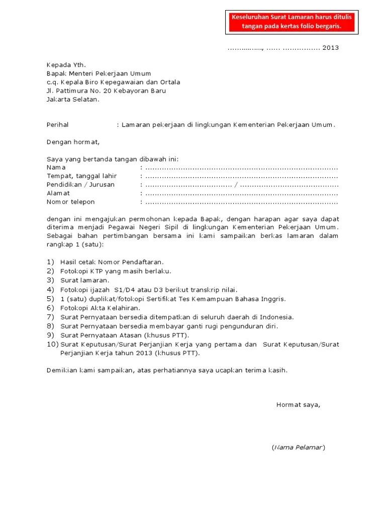 Contoh Surat Lamaran Kerja Kertas Folio Berbagi Contoh Surat Cute766