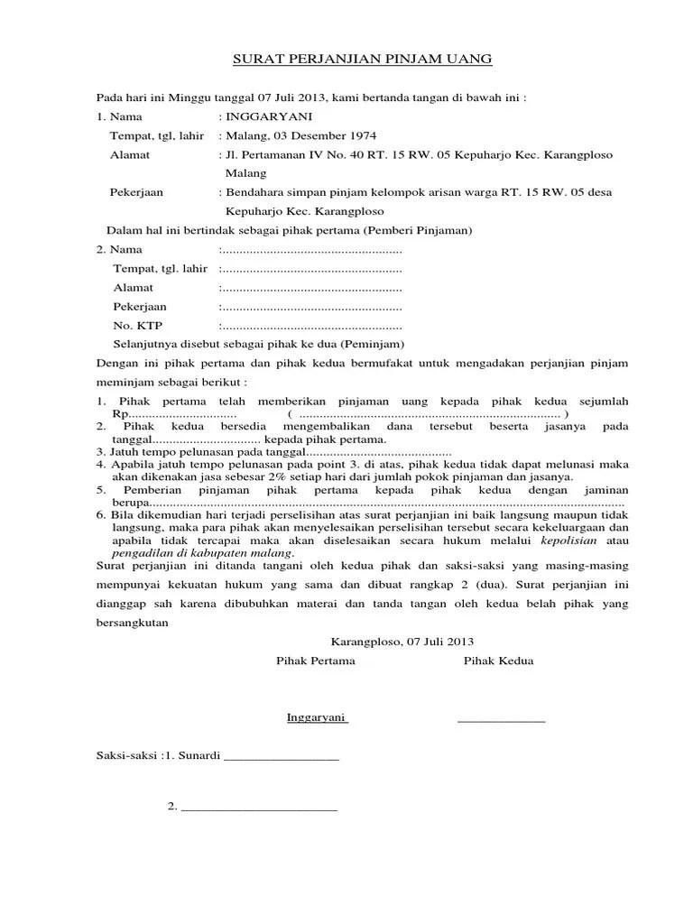 Contoh Surat Pernyataan Pinjam Uang : contoh, surat, pernyataan, pinjam, Surat, Perjanjian, Pinjam
