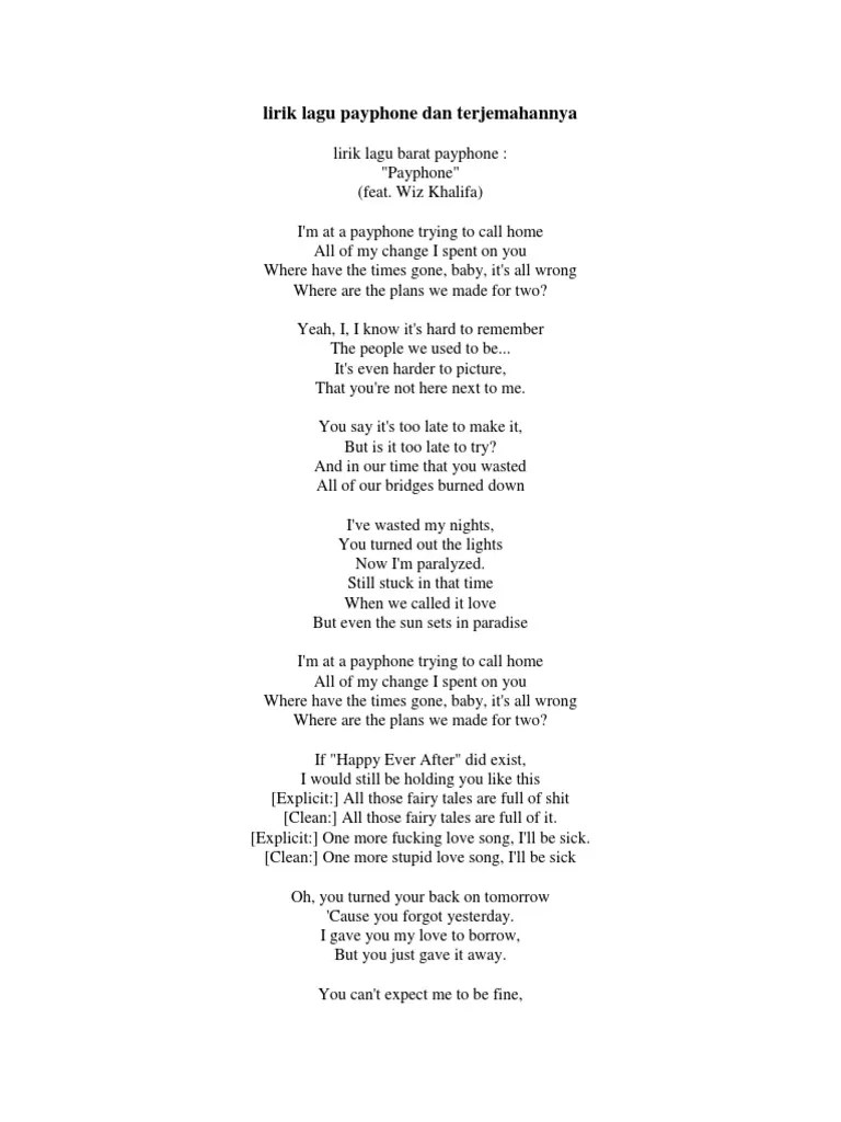 Before You Go Lirik Dan Terjemahan : before, lirik, terjemahan, Lirik, Payphone, Terjemahannya