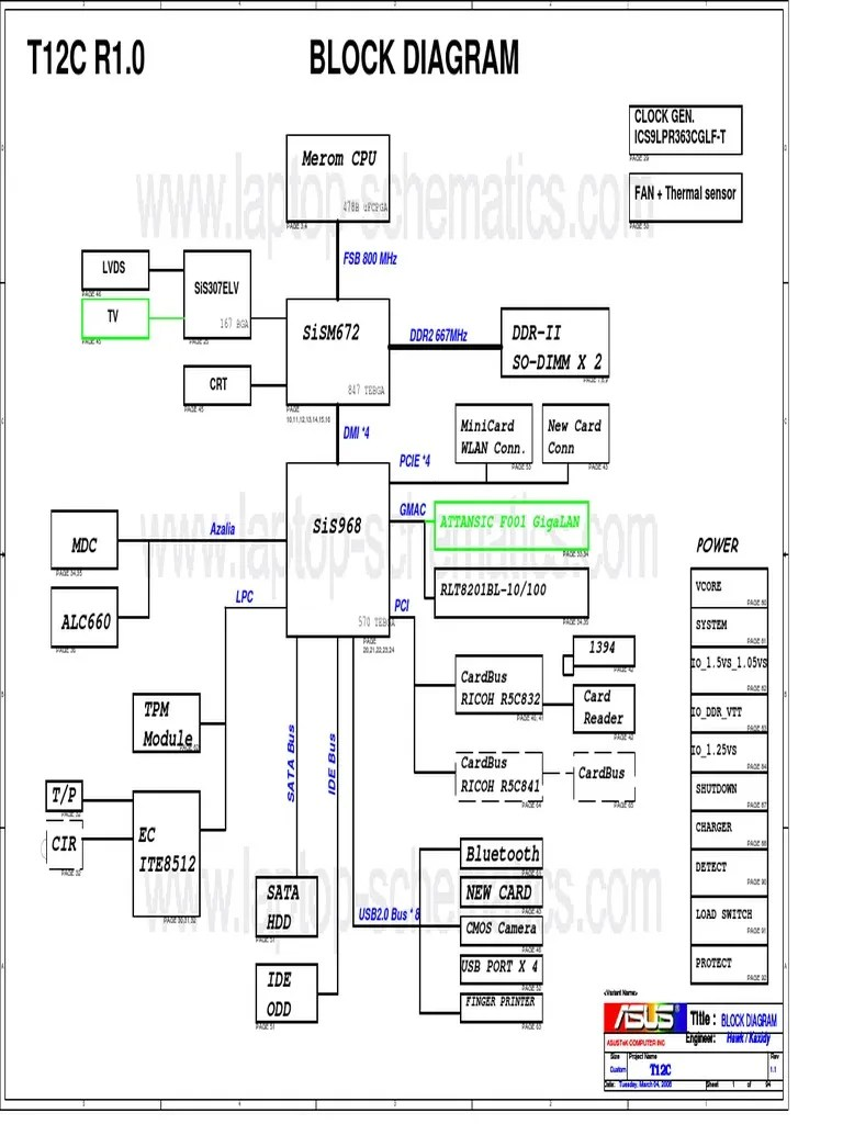 Asus T12C (X51C) Motherboard Schematic Diagram