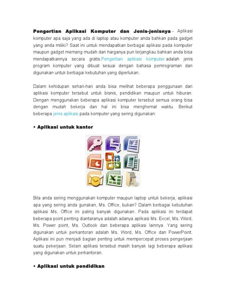 Jenis Aplikasi Komputer : jenis, aplikasi, komputer, Pengertian, Aplikasi, Komputer, Jenis