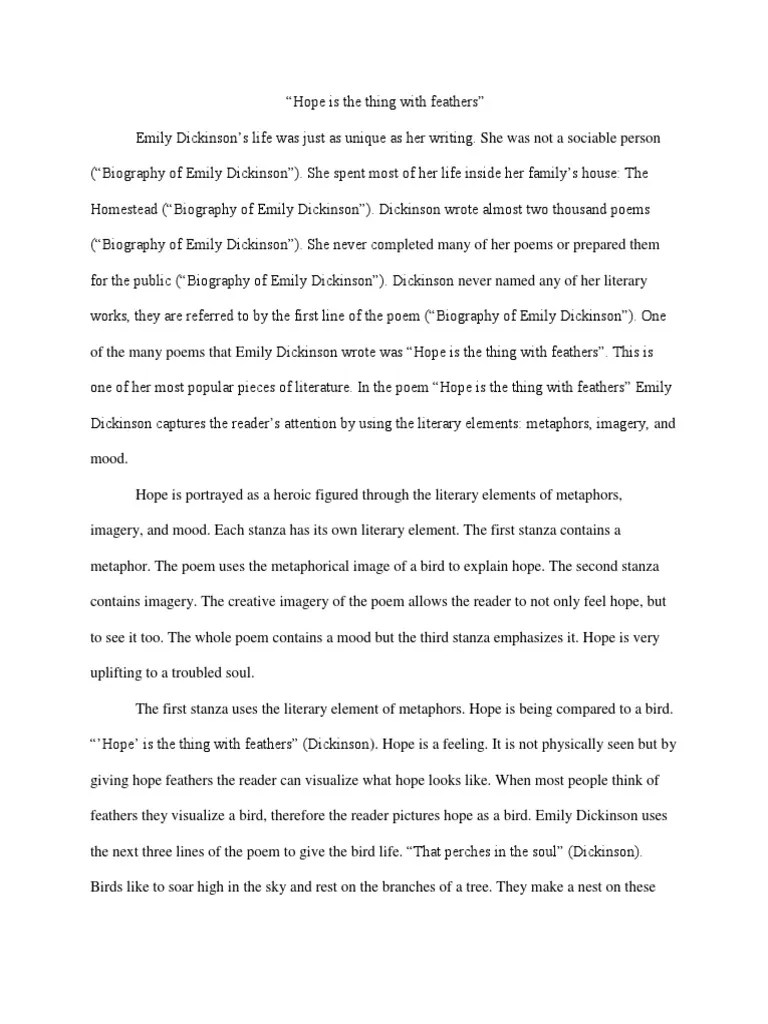 Hope Is The Thing With Feathers Summary : thing, feathers, summary, Thing, Feathers, Essay, Citied, Emily, Dickinson, Poetry