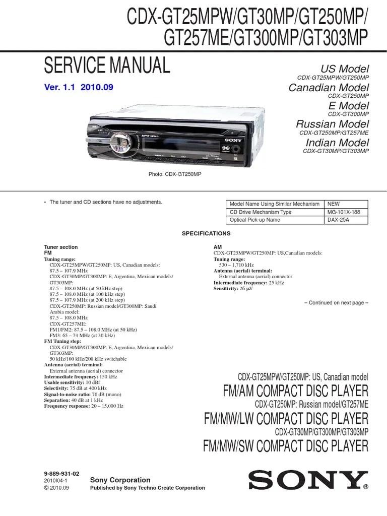 medium resolution of sony cdx gt100 service manual
