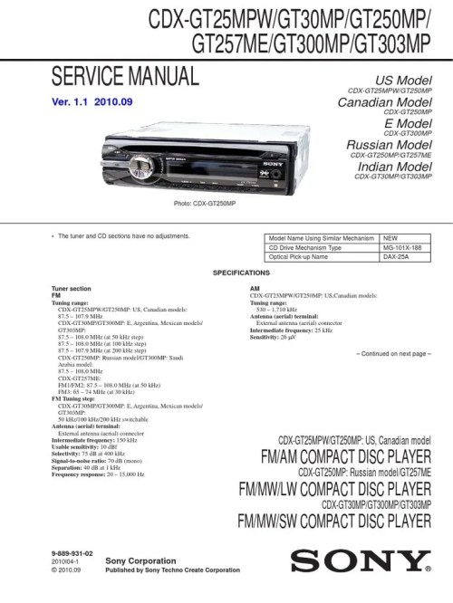 small resolution of sony cdx gt100 service manual