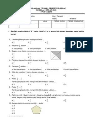 Soal Uts Matematika Kelas 3 Sd Semester 2 Dan Jawabannya : matematika, kelas, semester, jawabannya, Matematika, Kelas, Semester, Genap