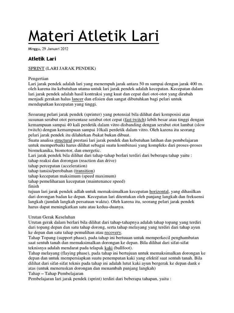 Pengertian Atletik Lari Jarak Pendek : pengertian, atletik, jarak, pendek, Materi, Atletik, Biomekanika