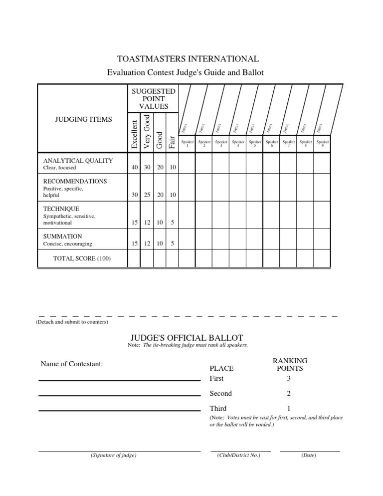 Evaluation Contest Judging Form