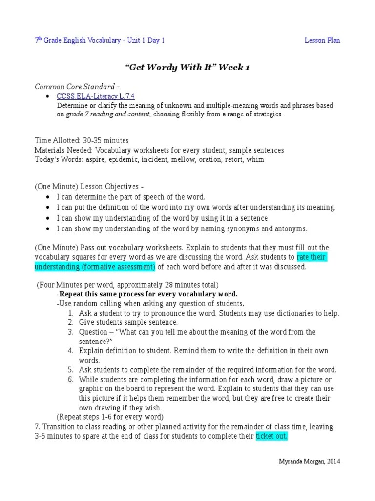"""hight resolution of Get Wordy With It"""" Week 1: CCSS.ELA-Literacy.L.7.4   Linguistics   Teaching"""
