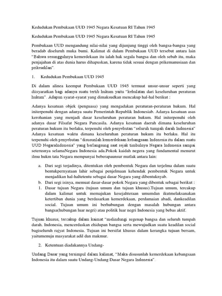 Kedudukan Pembukaan Uud Negara Republik Indonesia Tahun 1945 : kedudukan, pembukaan, negara, republik, indonesia, tahun, Kedudukan, Pembukaan, Negara, Kesatuan, Tahun