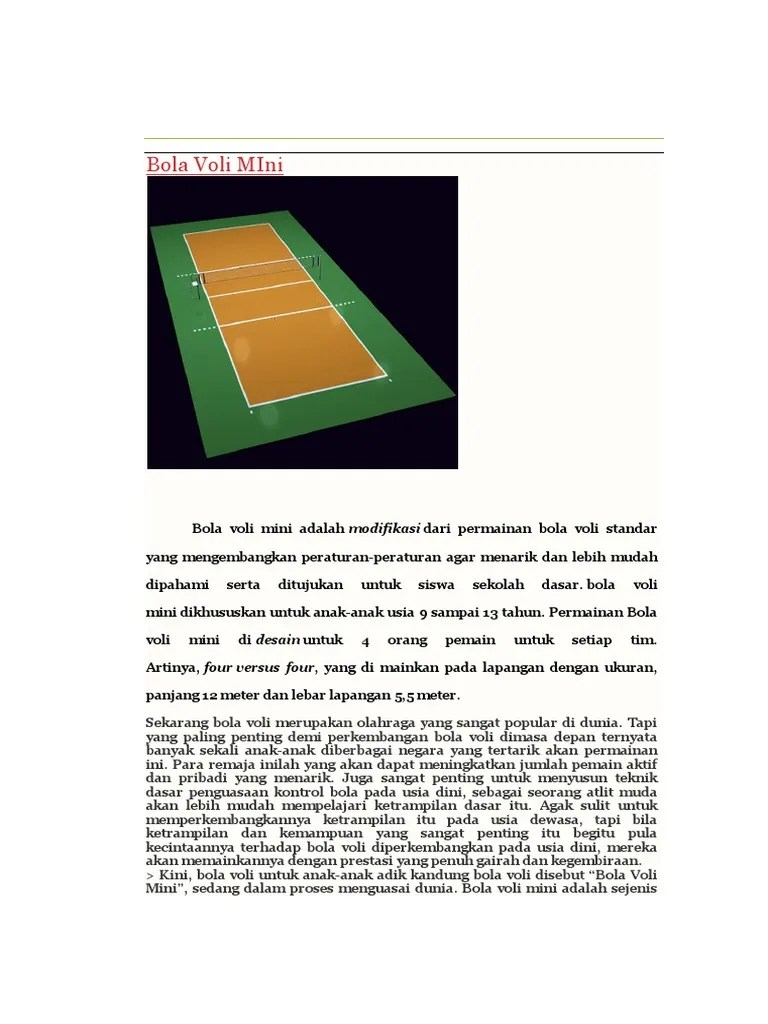 Lapangan Bola Voli Mini Berbentuk : lapangan, berbentuk, Gambar, Ukuran, Lapangan