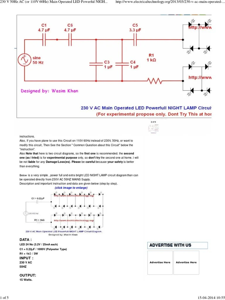 medium resolution of ac operated led night lamp circuit diagram series and parallel circuits electrical network