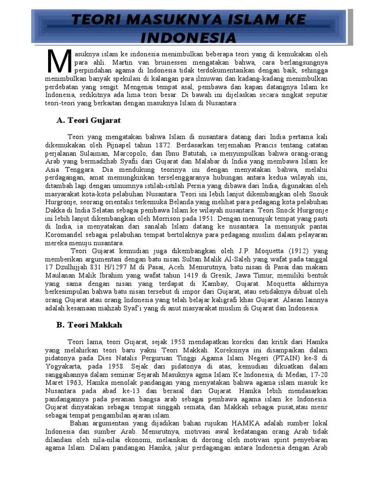 Teori Masuknya Agama Islam Di Indonesia : teori, masuknya, agama, islam, indonesia, Teori, Masuknya, Islam, Indonesia