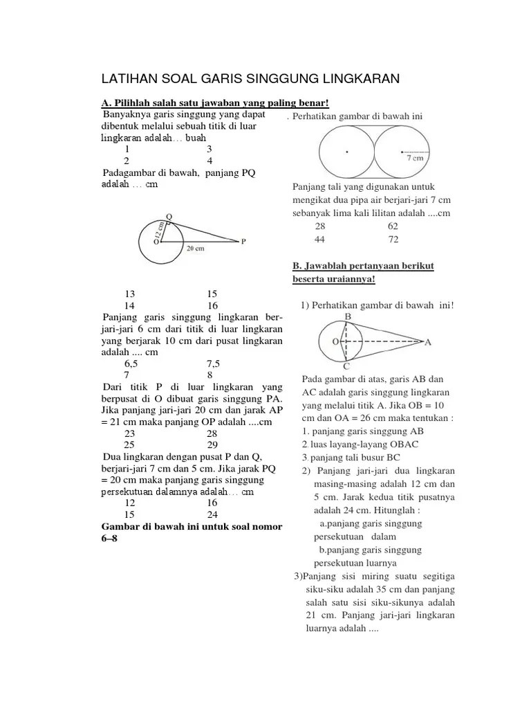 Contoh Soal Garis Singgung Lingkaran : contoh, garis, singgung, lingkaran, Latihan, Garis, Singgung, Lingkaran