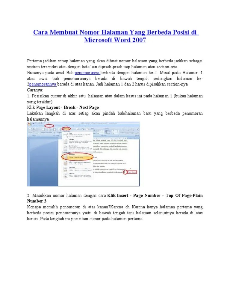 Cara Membuat Halaman Beda Posisi : membuat, halaman, posisi, Membuat, Nomor, Halaman, Berbeda, Posisi, Microsoft