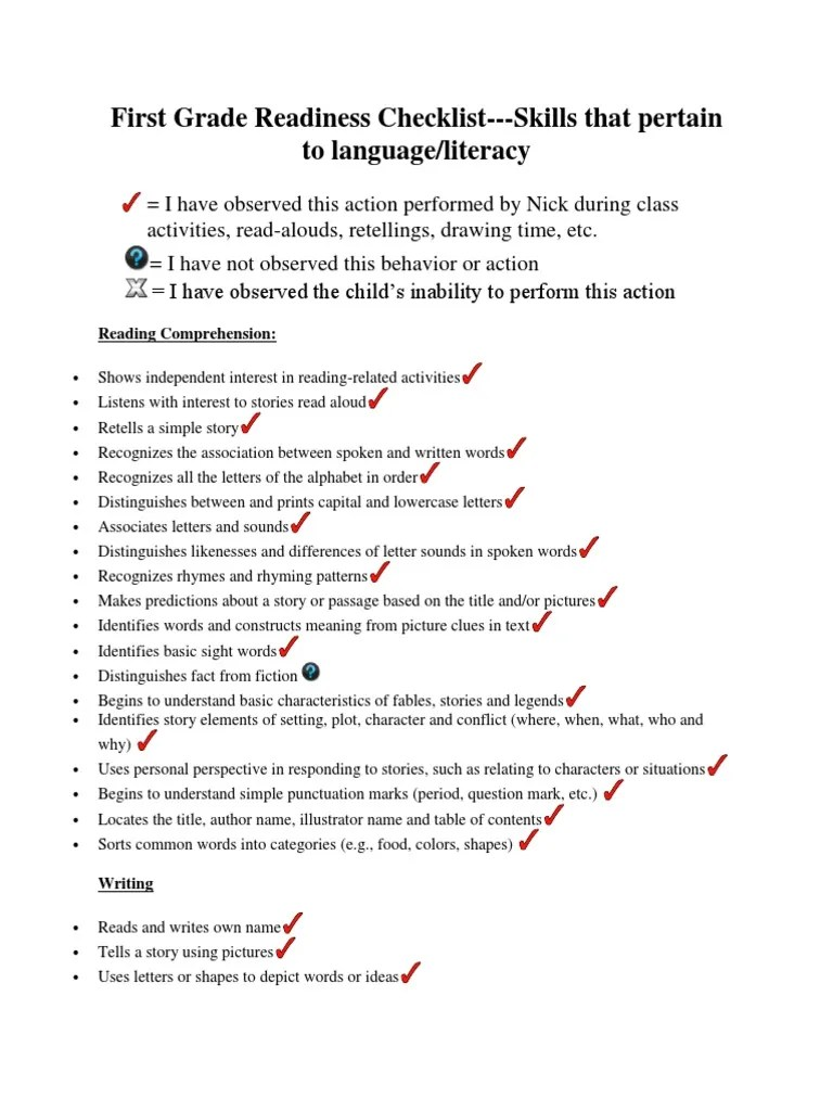 first grade readiness checklist portfolio   Literacy   Word [ 1024 x 768 Pixel ]