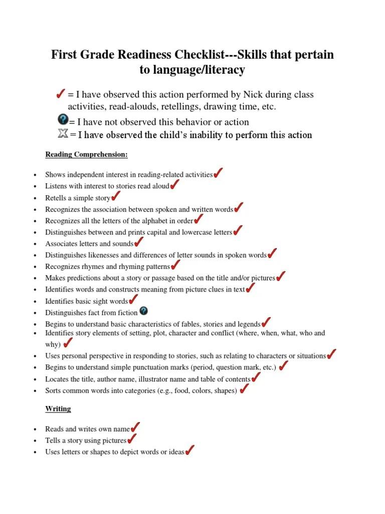first grade readiness checklist portfolio   Literacy   Word [ 1024 x 768 Pixel ]