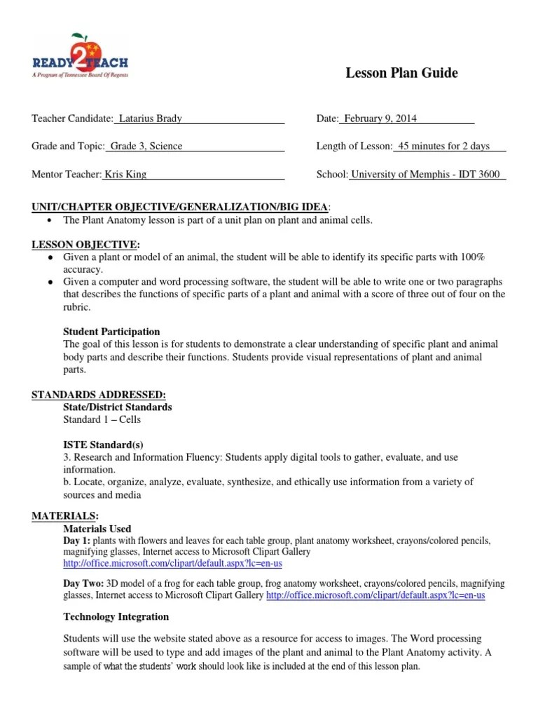 hight resolution of initial lesson plan   Lesson Plan   Plants