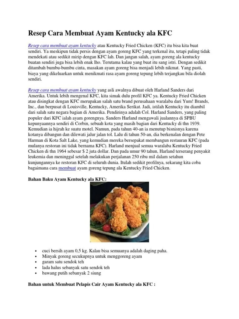 Cara Membuat Ayam Kentucky : membuat, kentucky, Resep, Membuat, Kentucky