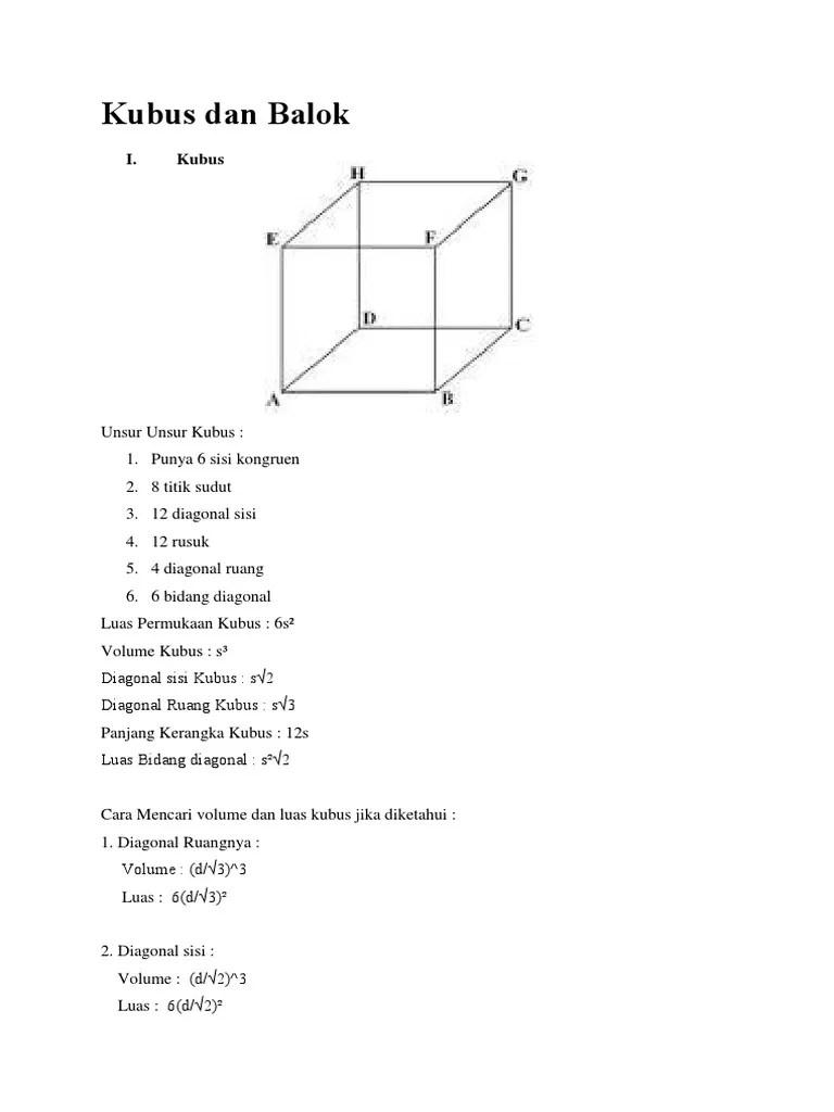 Diagonal Sisi Balok : diagonal, balok, Kubus, Balok