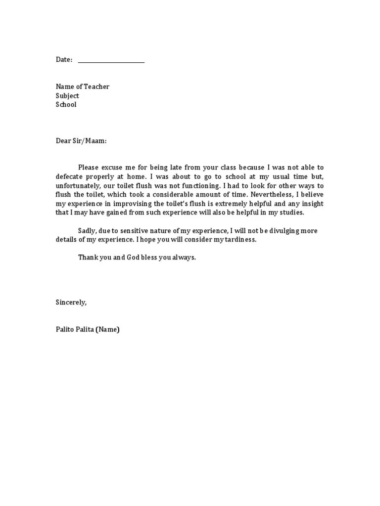 Excuse Letter Sample For Being Late | Blank Job Resume Download