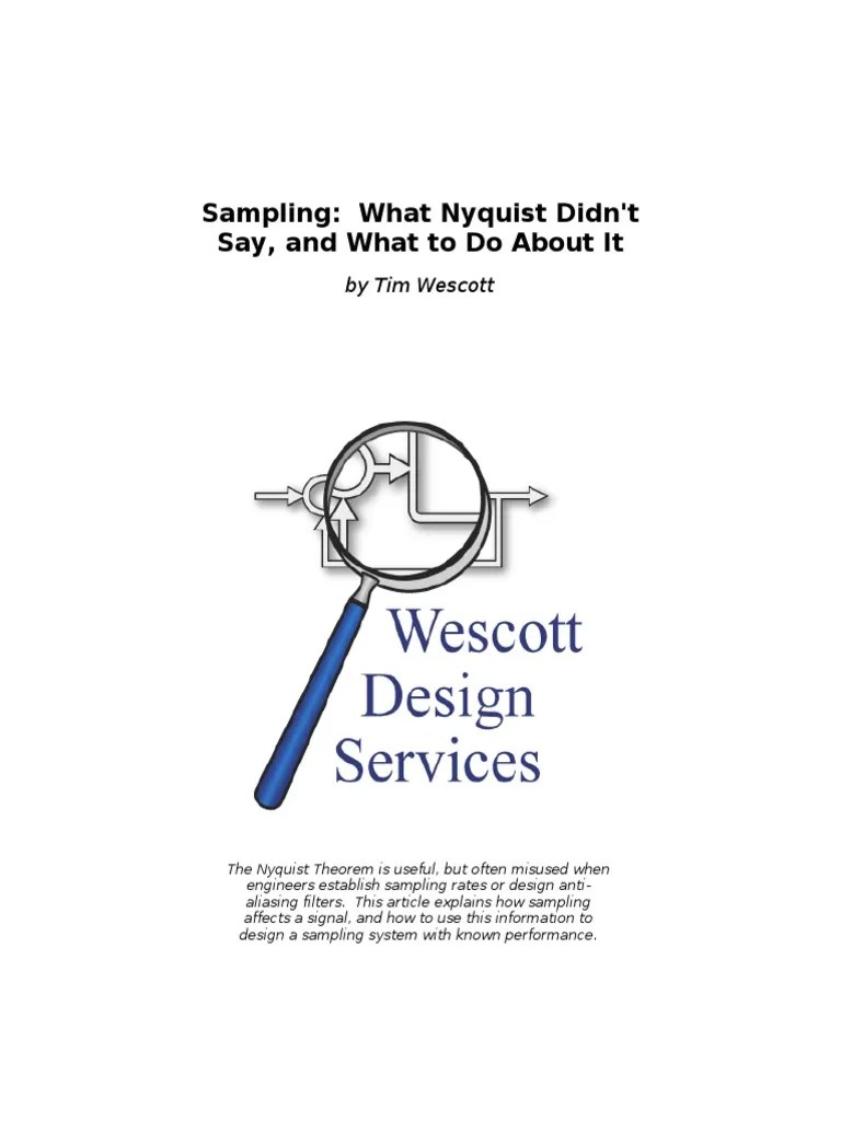 hight resolution of sampling what nyquist didn t say and what to do about it wescott sampling