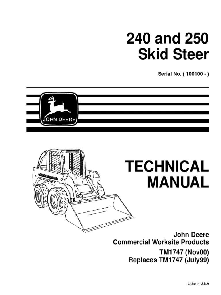 55D83 John Deere 240 Skid Steer Wiring Diagram | Wiring ... on