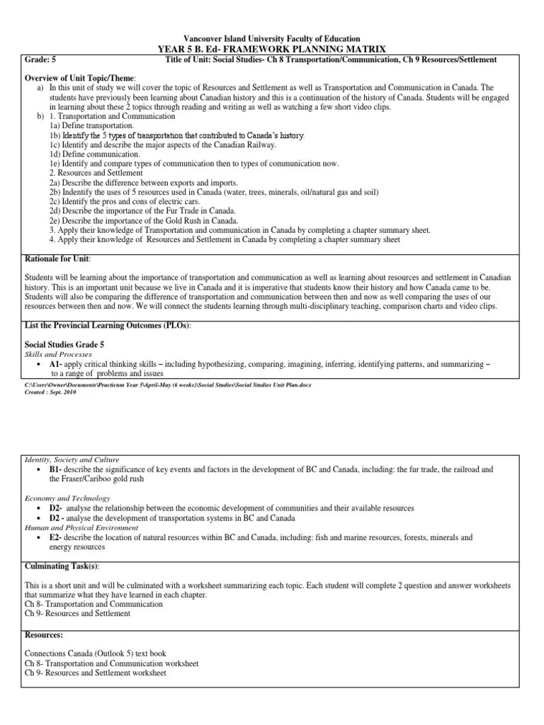 hight resolution of social studies unit plan   Canada   Resource