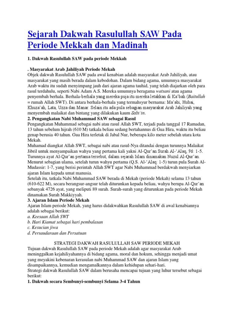 Dakwah Di Madinah : dakwah, madinah, Sejarah, Dakwah, Rasulullah, Periode, Mekkah, Madinah