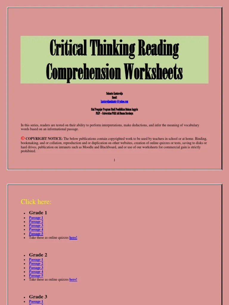 Critical Thinking Reading Comprehension Worksheets   Reading Comprehension [ 1024 x 768 Pixel ]