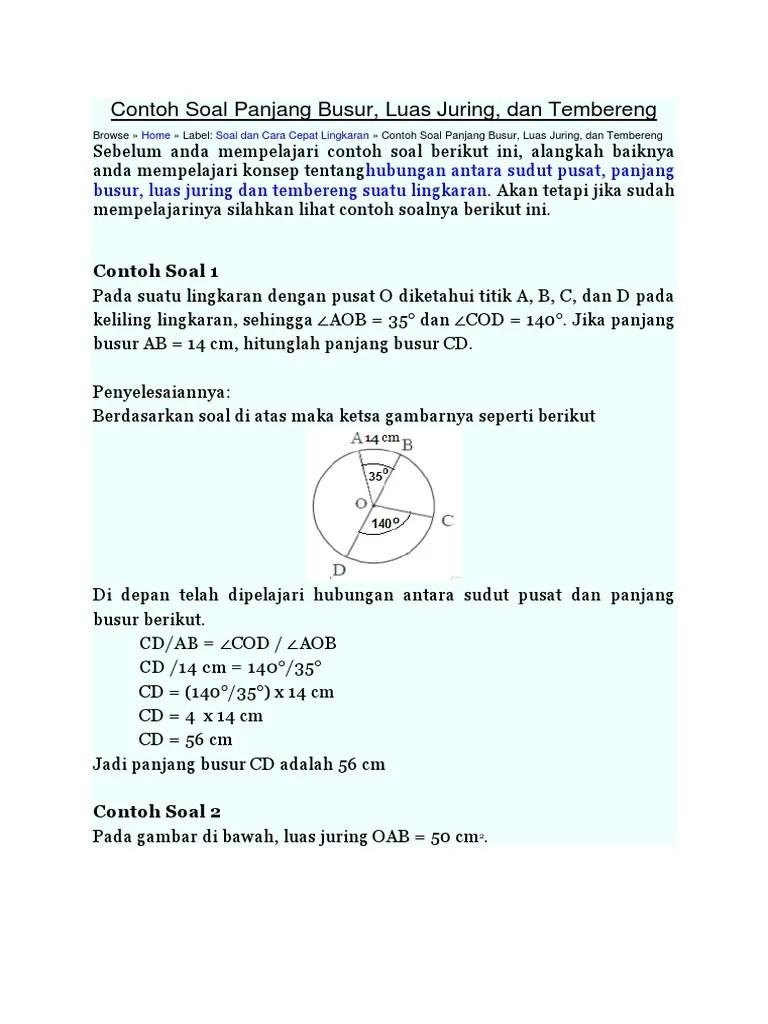 Panjang Busur Lingkaran : panjang, busur, lingkaran, Contoh, Panjang, Busur, Lingkaran