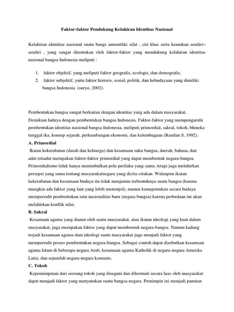 Faktor Faktor Pembentuk Bangsa Indonesia : faktor, pembentuk, bangsa, indonesia, Faktor, Pembentuk, Identitas, Nasional