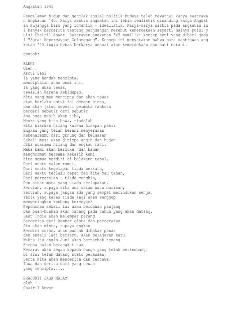 Puisi 45 : puisi, Puisi, Angkatan
