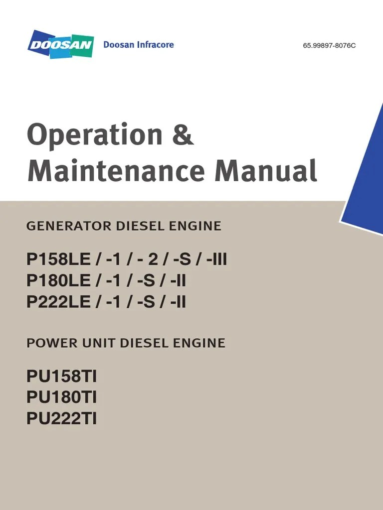 small resolution of operation and maintenance manual p158le p180le p222le daewoo doosan internal combustion engine