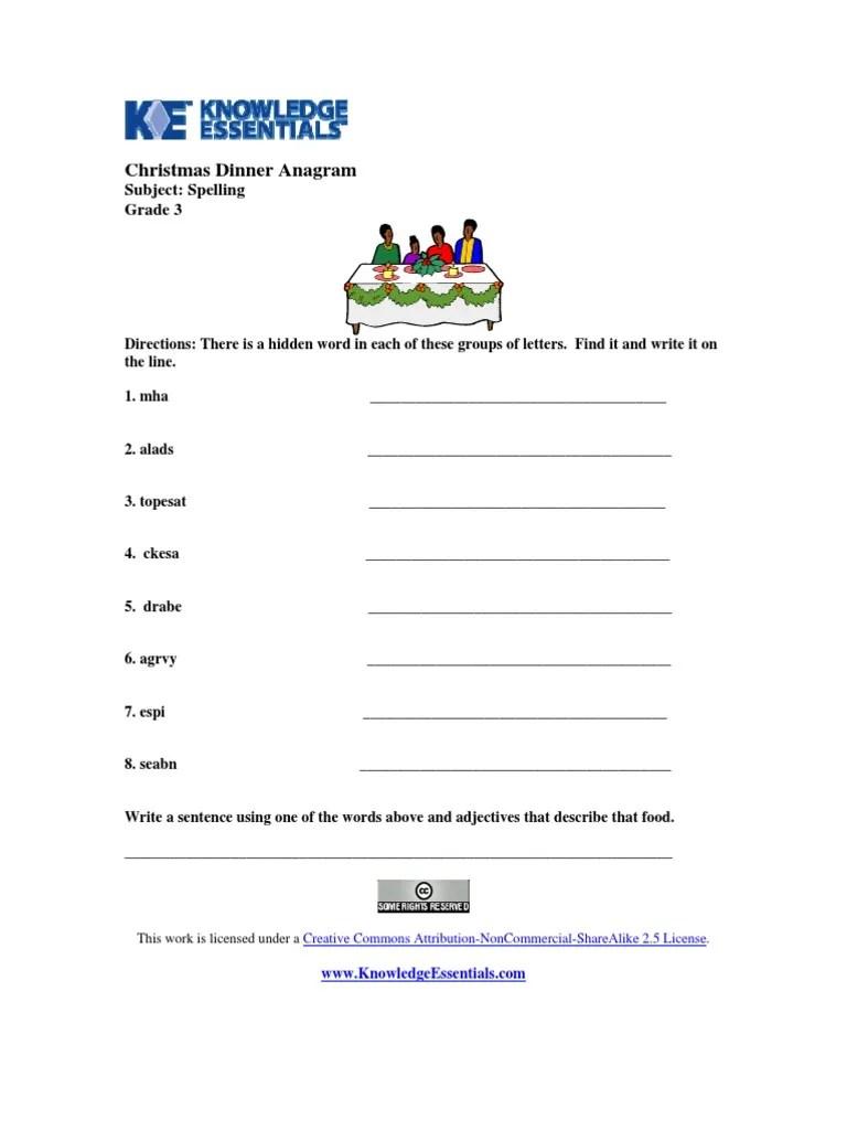 Worksheet   Grade 3   Spelling   Christmas Dinner Anagram [ 1024 x 768 Pixel ]