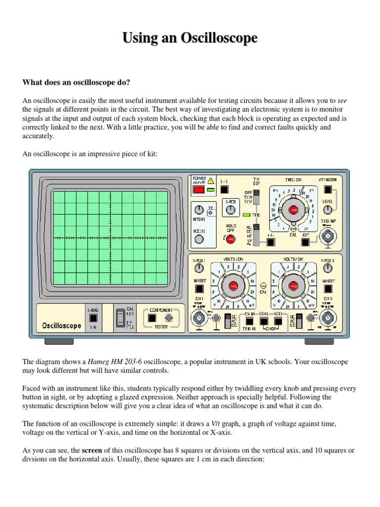 using an oscilloscope vacuum tube manufactured goods an oscilloscope works can be givenusing the block diagram shown below [ 768 x 1024 Pixel ]