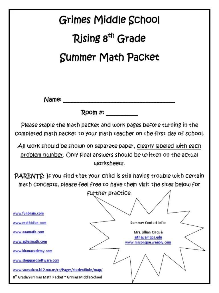 rising 8th grade summer math packet   Fraction (Mathematics)   Discrete  Mathematics [ 1024 x 768 Pixel ]