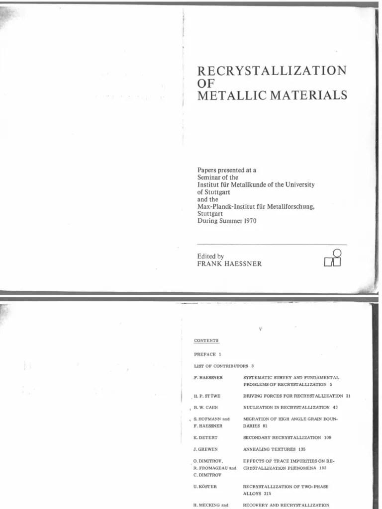 hight resolution of haessner recrystallization of metallic materials 1971 dislocation crystallite