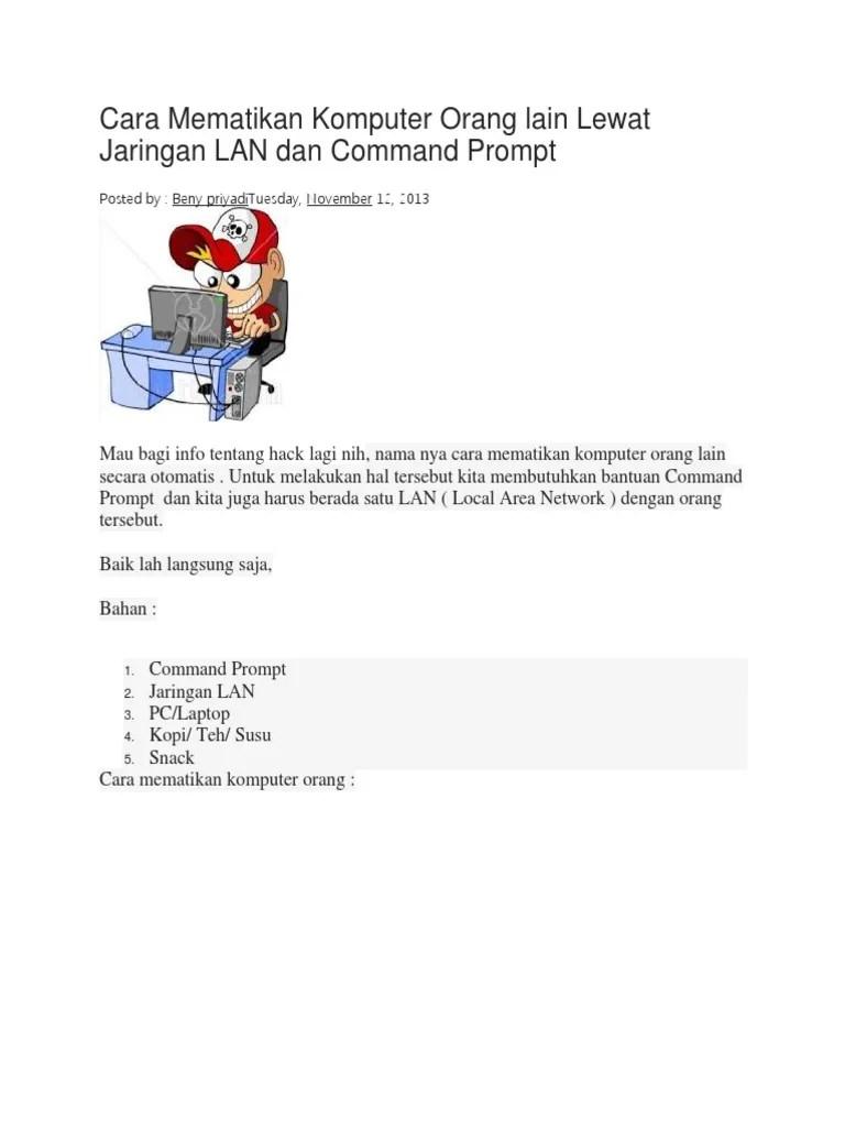 Cara Mematikan Komputer Lain Lewat Cmd : mematikan, komputer, lewat, Mematikan, Komputer, Orang, Lewat, Jaringan, Command, Prompt
