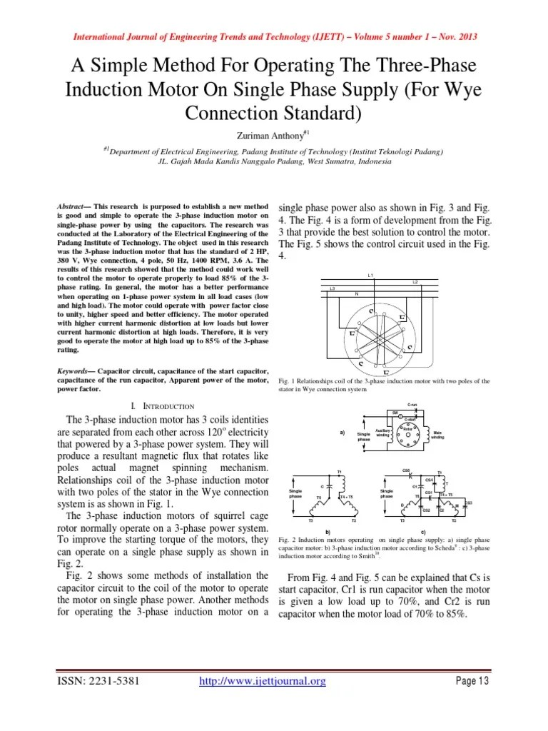 hight resolution of a simple method for operating the three phase induction motor on single phase supply for wye connection standard electrical equipment components