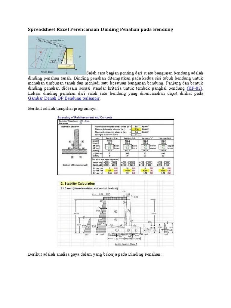 Perhitungan Dinding Penahan Tanah Dengan Excel : perhitungan, dinding, penahan, tanah, dengan, excel, Spreadsheet, Excel, Perencanaan, Dinding, Penahan, Bendung