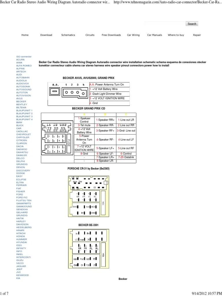 medium resolution of becker car radio wiring diagram car motor vehicle