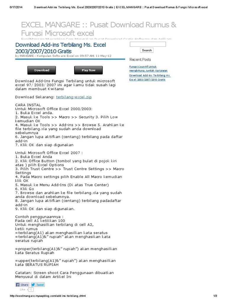 Download Terbilang Microsoft Excel 2007 Gratis : download, terbilang, microsoft, excel, gratis, Download, Add-Ins, Terbilang