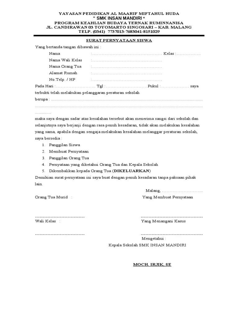 Surat Pernyataan Siswa : surat, pernyataan, siswa, Surat, Pernyataan, Siswa