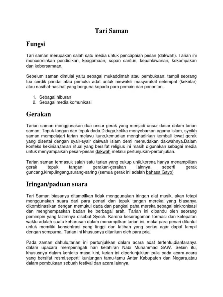 Deskripsi Tentang Tari Saman : deskripsi, tentang, saman, Saman