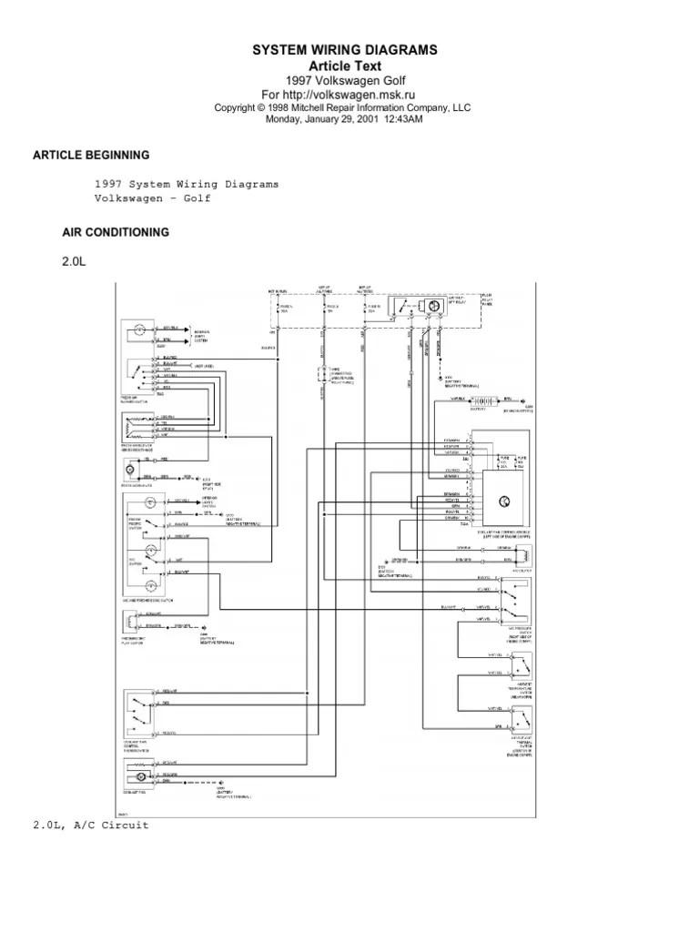 medium resolution of 1997 golf wiring diagram