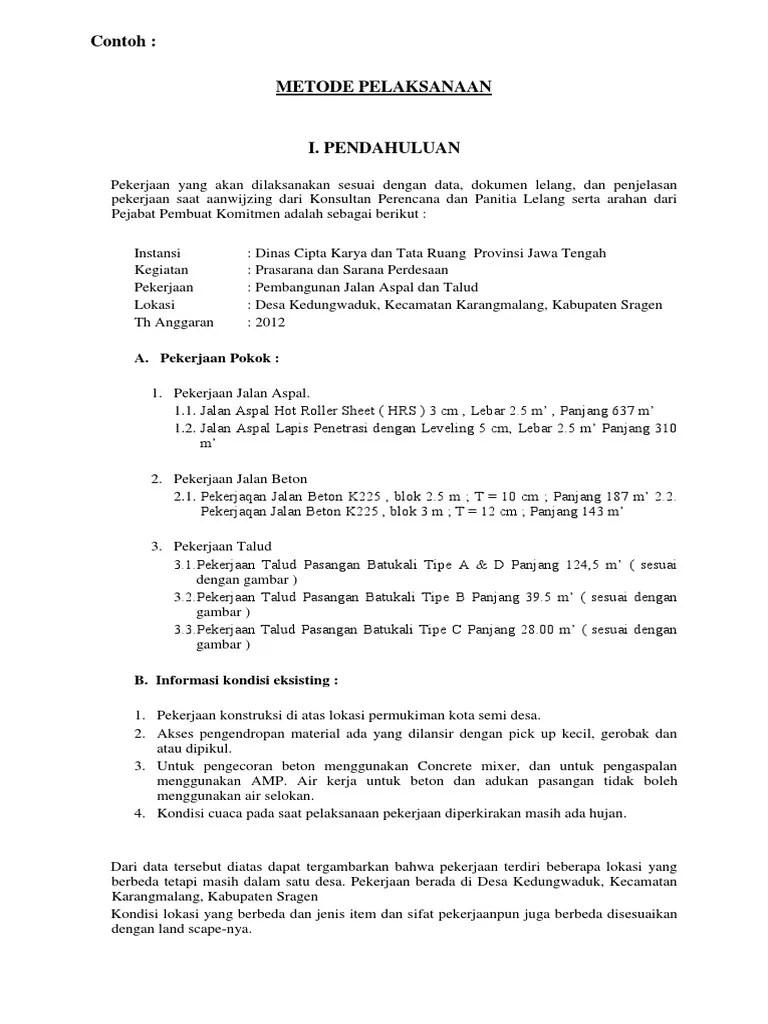 Metode Pelaksanaan Pekerjaan Jalan Beton Pdf : metode, pelaksanaan, pekerjaan, jalan, beton, Contoh, Metode, Pelaksanaan, Jalan