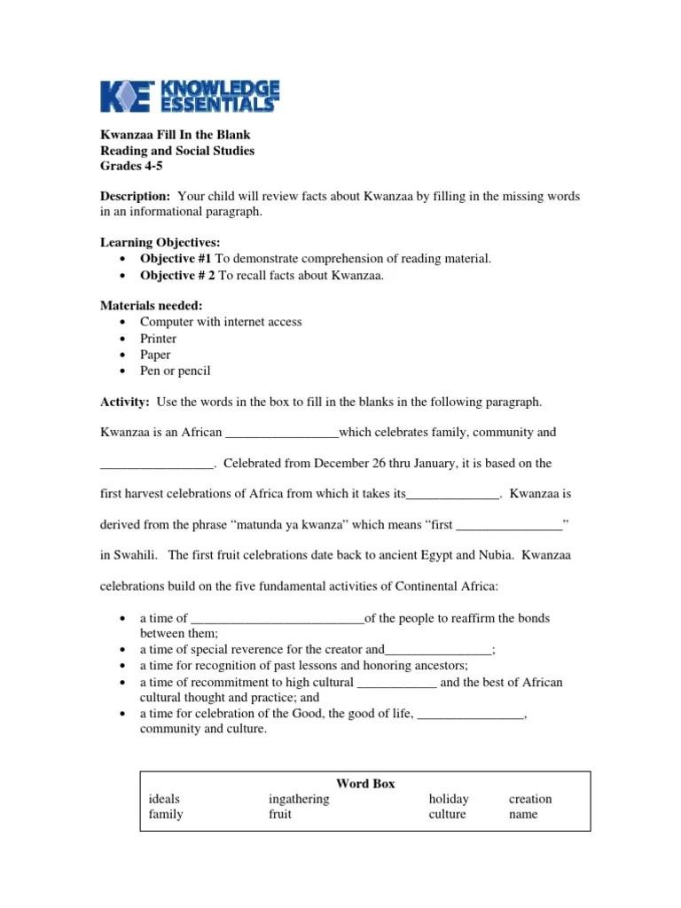 Worksheet   Grade 4-5   Reading \u0026 Social Studies   Kwanzaa Fill in the  Blank   Learning   Behavior Modification [ 1024 x 768 Pixel ]